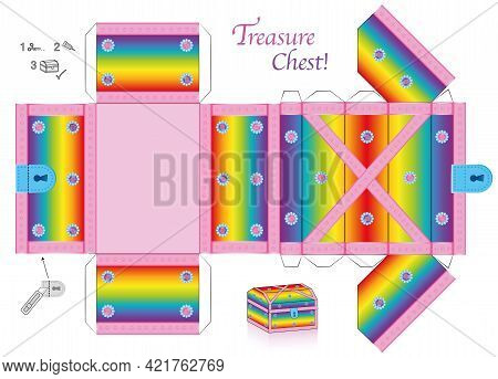 Treasure Chest Template. Rainbow Colored Paper Model. Cut Out, Fold And Glue It. With Lid That Can B