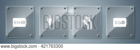 Set Ssd Card, Lan Cable Network Internet, Usb Cord And Sshd. Square Glass Panels. Vector