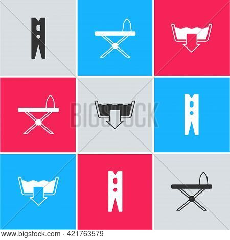 Set Clothes Pin, Iron And Ironing Board And Washing Modes Icon. Vector