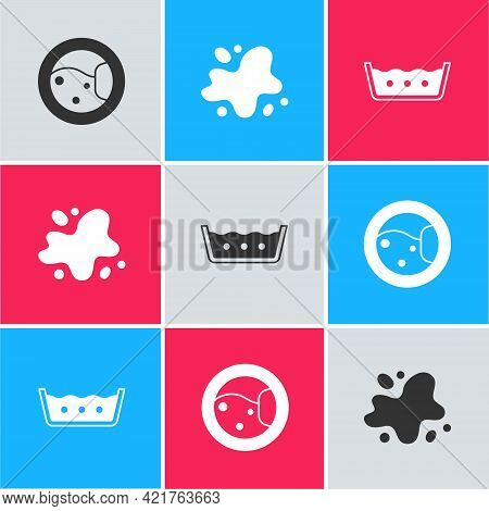 Set Washer, Water Spill And Temperature Wash Icon. Vector