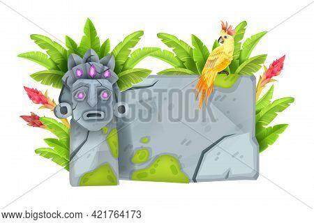Game Stone Sign Board, Cartoon Jungle Rock Panel, Cracked Granite Bolder, Parrot, Exotic Leaf, Tiki