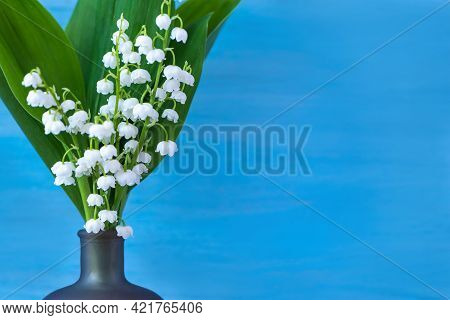 Blue Background With White Delicate Lily Of The Valley Flowers For Mothers Day Card. Modern Minimal