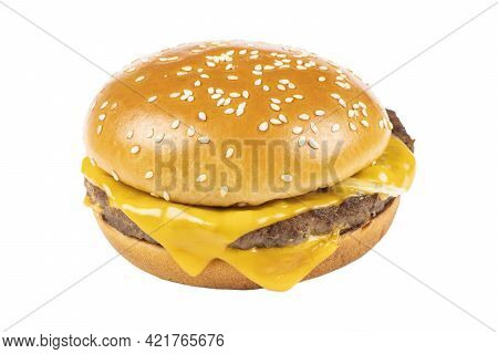 Delicious Grilled Burger Isolated On White Background. Fast Food Hamburger. Perfect Classic Cheesebu