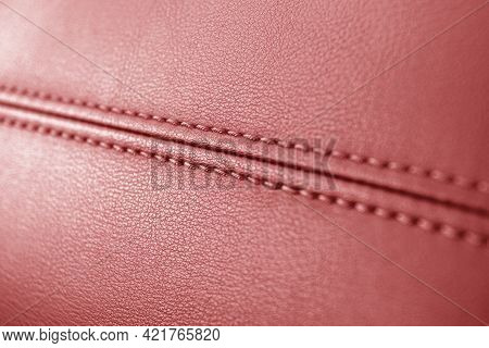 Modern Luxury Car Red Leather Interior. Part Of Perforated Leather Car Seat Details. Red Perforated