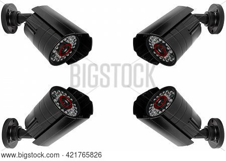 Cctv Security Camera Video Equipment Isolated On White Background.  Surveillance Monitoring. Video C