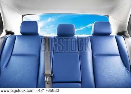 Back Passenger Red Leather Seats In Modern Luxury Car. Blue Perforated Leather With Stitching. Car I