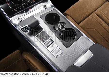 Automatic Gear Stick Of A Modern Car. Modern Car Interior Details. Close Up View. Car Inside. Automa