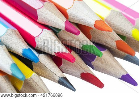 Macro Shot Colored Pencils Isolated On The White Background With Clipping Path. Close Up Set Of Mult