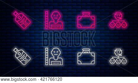 Set Line Suspect Criminal, Briefcase And Money, Whiskey Bottle And Mafia. Glowing Neon Icon On Brick