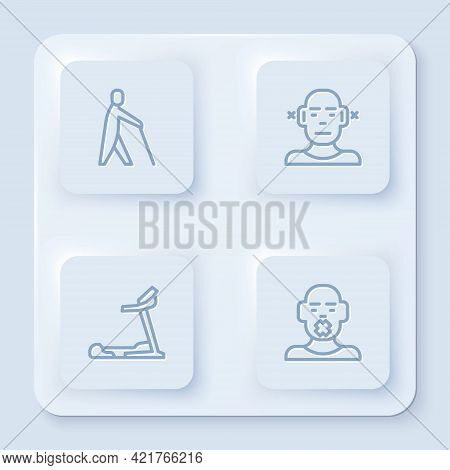 Set Line Blind Human Holding Stick, Deaf, Treadmill Machine And Head Of Deaf And Dumb. White Square