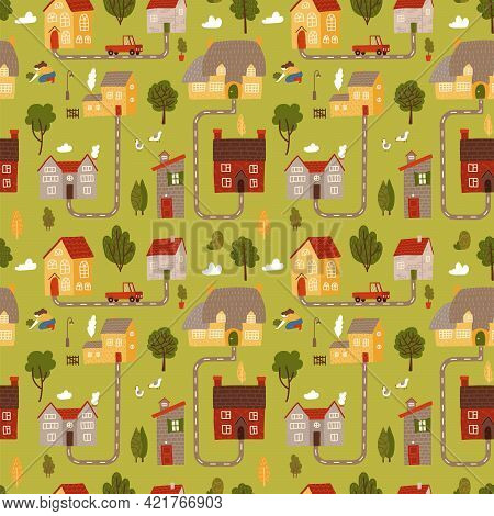 Small Countryside Map Seamless Pattern. Top View Of Countryside With Houses Roads And Cars. Vector F