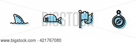 Set Line Pirate Flag, Shark Fin In Ocean Wave, Bandana For Head And Compass Icon. Vector
