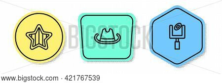 Set Line Usa Independence Day, Western Cowboy Hat And American Football Goal Post. Colored Shapes. V