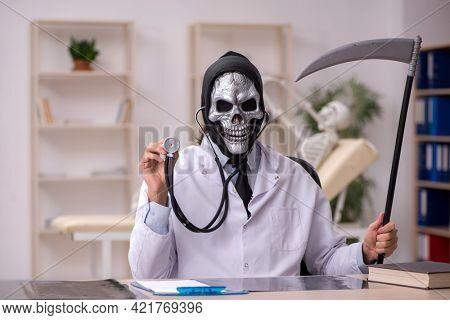 Reaper grim doctor examining skeleton patient