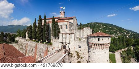 Panoramic View Of The Castle Of Brescia City From The Drone. Lombardy, Italy
