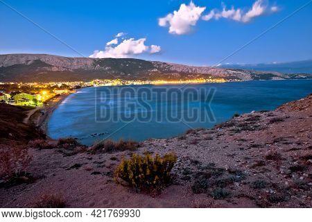 Bay Of Baska Evening View, Town On Krk Island In Croatia