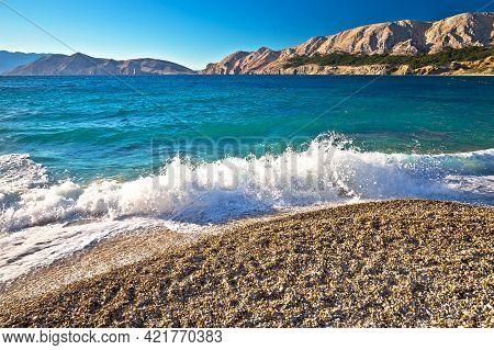 Baska. Idyllic Pebble Beach With High Waves In Town Of Baska, Island Of Krk In Kvarner Bay Of Croati