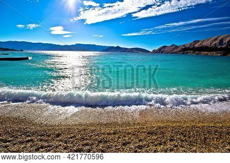 Baska. Idyllic Pebble Beach In Town Of Baska View, Island Of Krk In Kvarner Bay Of Croatia