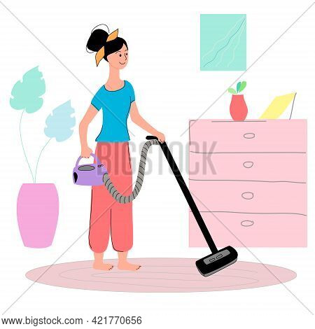 A Woman Is Dusting The Floor With A Vacuum Cleaner In The Living Room. Illustration On The Theme Of