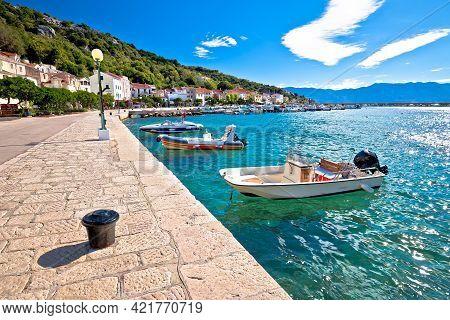 Town Of Baska Waterfront View. Island Of Krk In Kvarner Bay Of Croatia