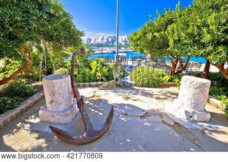 Town Of Baska Green Park By The Sea View. Island Of Krk In Kvarner Bay Of Croatia