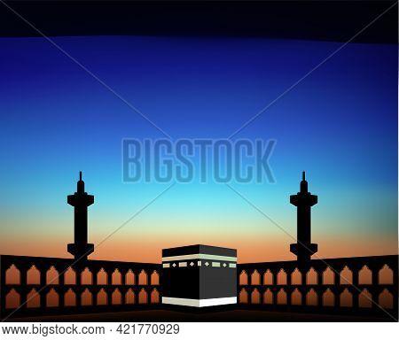 The Holy Kaaba In Time Of Dawn. Mecca, Saudi Arabia. Pilgrimage Hajj, Ramadan Kareem. Flat Style Des