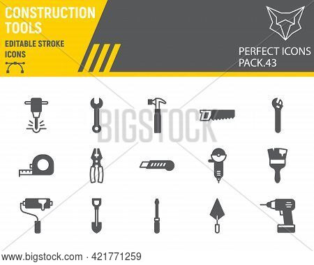 Construction Tools Glyph Icon Set, Tools Collection, Vector Graphics, Logo Illustrations, Repair Too