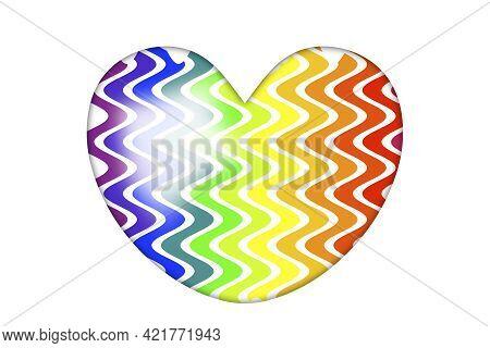 Wavy Rainbow Stripes Inside Love Heart Shape For Gay Pride Celebration Holiday Event Icon Symbol Ill