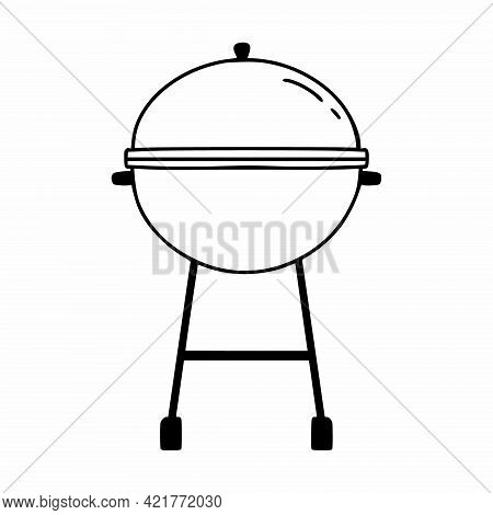 Barbecue Grill. Vector Icon In Doodle Style.