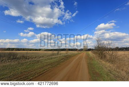 ground road in village in spring day, Ukraine