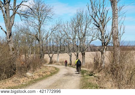 Kaliningrad Region, Russia, April 4, 2021. Cycling Through The Woods. Cycling In The Wilderness. Cyc