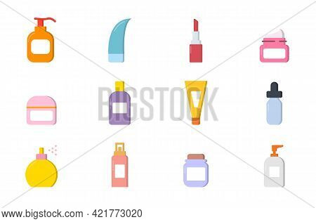 Collection Of Natural Organic Beauty Cosmetic Products In Colorful Bottles, Jars, Tubes. Set Of Cosm