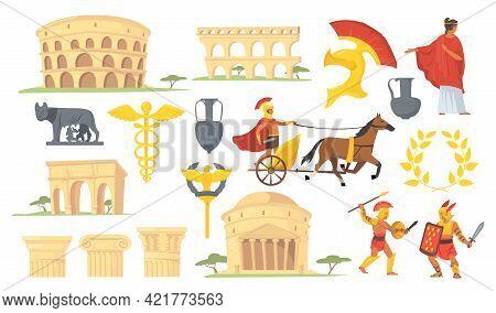 Set Of Ancient Roman Civilization Symbols. Cartoon Vector Illustration. Coliseum, Columns, Architect