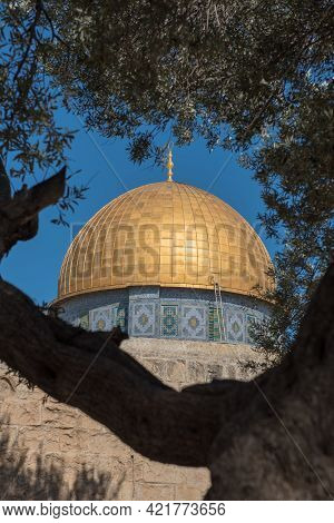 The Golden Cupola Of The Dome Of The Rock On Temple Mount. Jerusalem, Palestine, Israel