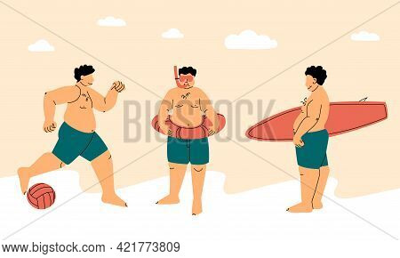 Beach Sports. Happy Plump Or Fat Man In A Swimsuit. Active Body Positive Concept. Surfing, Snorkelin