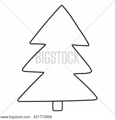 Spruce In A Linear Style. Tree Vector Hand-drawn Illustration In Flat Style. Isolated Outline Elemen