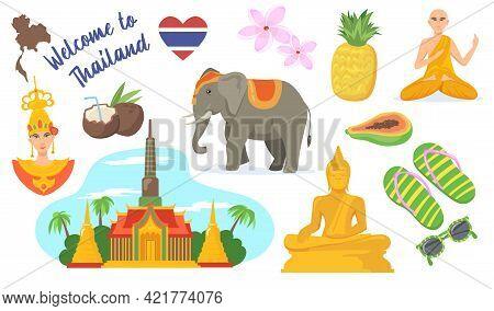 Set Of Thailand Symbols Cartoon Vector Illustration. Thai Elephant, Bangkok Palace, Buddha Statue, C