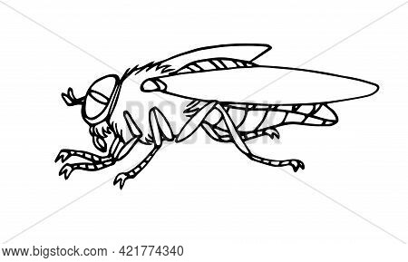 Horsefly, Parasite Insect, Carriers Of Anthrax And Other Diseases, Bloodsucker. Vector Illustration