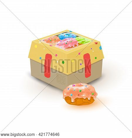 Cartoon Cardboard Box With Sweets On It, Tasty Doughnut Covered With Frosting And Colored Sprinkles.