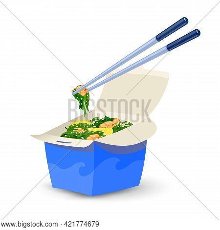 Cartoon Of Seaweed With Seafood Under Sesame And Lemon Slices. Vector Chopsticks Holding Piece Of Ke