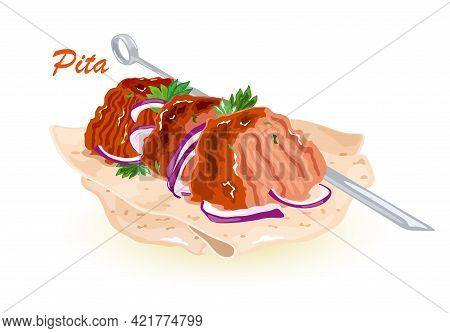Cartoon Of Turkish Or Mexican Fast Food With Meat And Vegetables In Pita Bread, Meal On Grill. Vecto