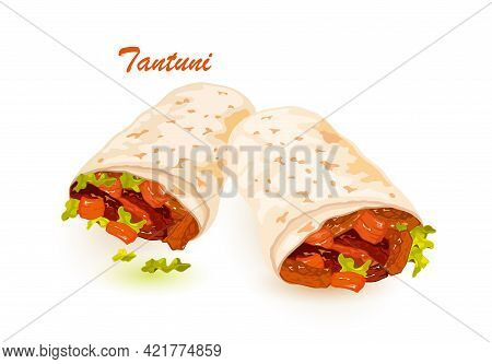 Cartoon Of Tantuni Lavash Filled With Tomato And Meat And Lettuce Leaves. Vector Pita Bread In Rolls