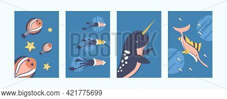 Set Of Underwater Animals Illustrations In Pastel Style. Sea World Illustration Set In Gentle Colors