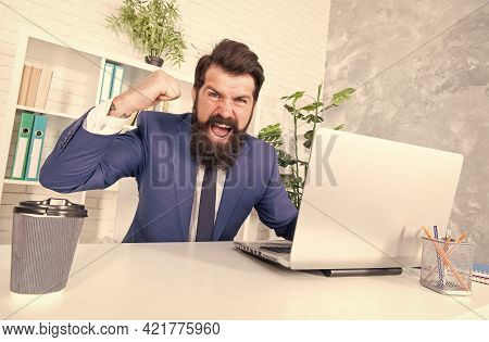 Control Your Anger. Angry Realtor Shout Showing Fist. Bearded Man Got Angry In Office. Feeling Angry