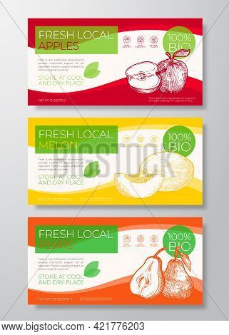 Fresh Local Fruits Label Templates Set. Abstract Vector Packaging Horizontal Design Layouts Collecti