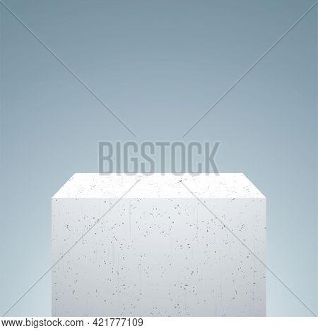 White Concrete Pedestal On A Gray Background.