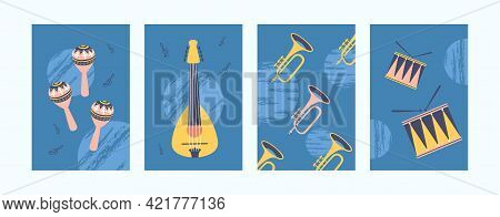 Colorful Musical Instruments Illustrations Set. Bright Collection Of Music Instruments. Guitar, Drum