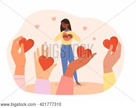 Generosity As Donation Support Sharing Person Love. Charity Volunteer Campaign. Assistance Symbol Fo