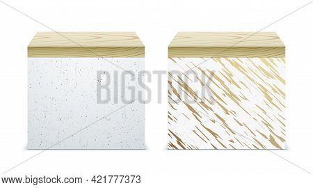 Concrete And Marble Stands With Wooden Covers.