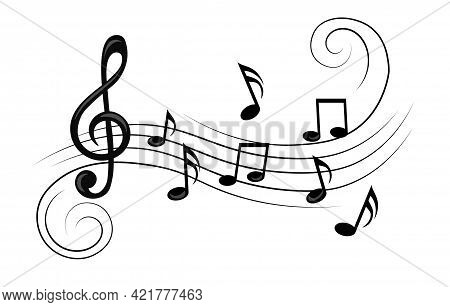 Music Notes, With Curves And Swirls, Staff Treble Clef Notes Musician. Flat Abstract Cartoon Vector